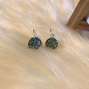 Blue/Gray Druzy Earrings